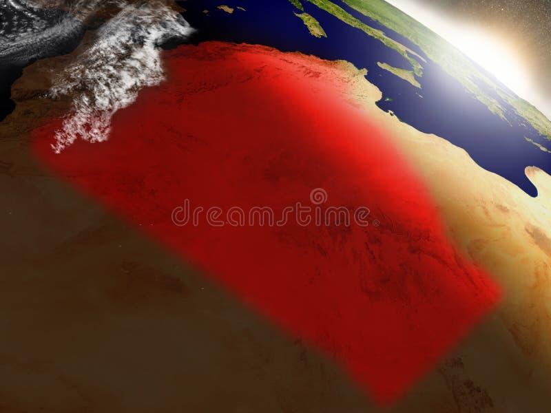Download L'Algérie De L'espace Accentué En Rouge Illustration Stock - Illustration du earth, république: 77162553