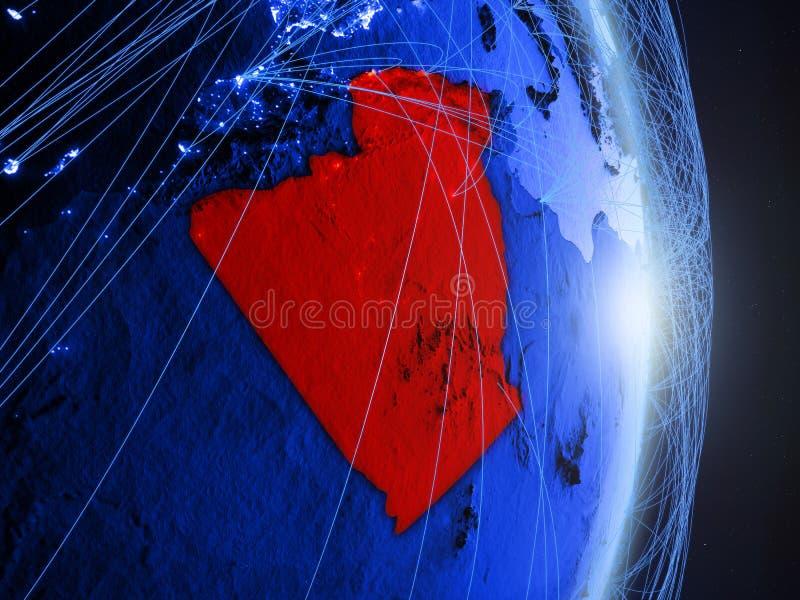 L'Algérie sur la terre numérique bleue bleue photos stock