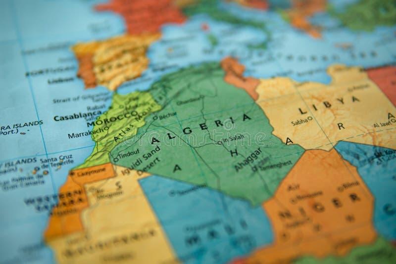 L'Algérie sur une carte image stock