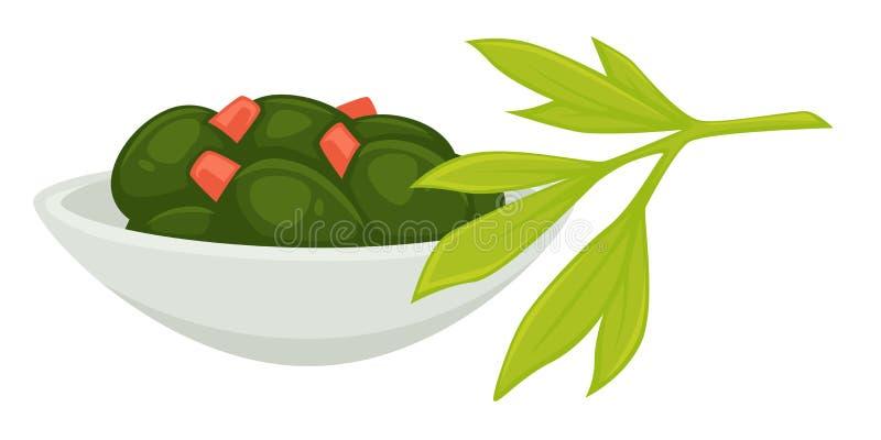 L'alga è servito in piatto nel vettore del menu dei frutti di mare del ristorante royalty illustrazione gratis