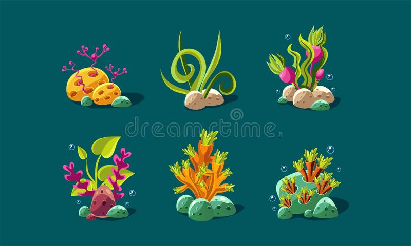L'alga e le piante subacquee hanno messo, piante di fantasia, beni dell'interfaccia utente per i apps mobili o vettore dei dettag illustrazione vettoriale