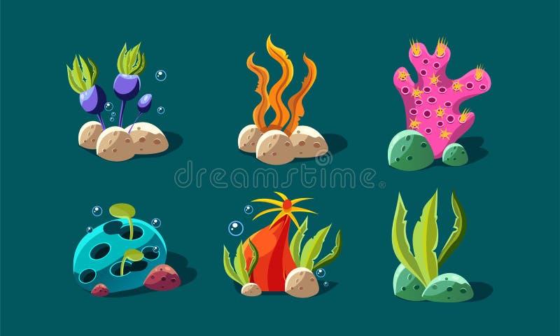 L'alga e le piante subacquee hanno messo, piante variopinte di fantasia, beni dell'interfaccia utente per i apps mobili o dettagl royalty illustrazione gratis