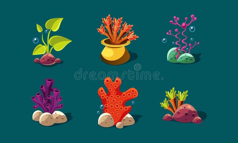 L'alga, i coralli e le piante subacquee hanno messo, piante variopinte di fantasia, beni dell'interfaccia utente per i apps mobil illustrazione di stock