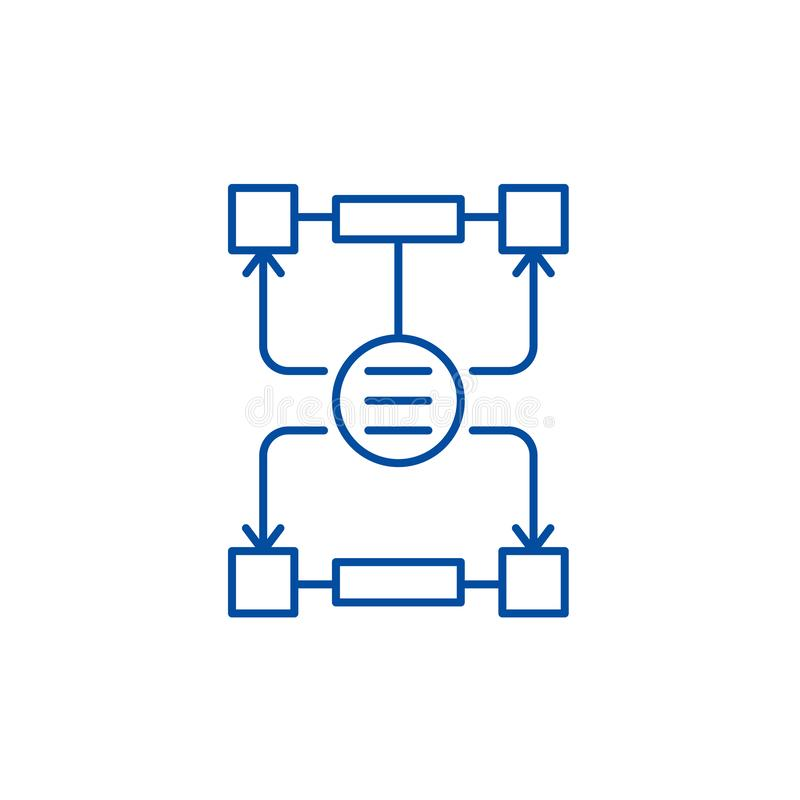 L'algoritmo delle decisioni allinea il concetto dell'icona Algoritmo del simbolo piano di vettore di decisioni, segno, illustrazi illustrazione vettoriale