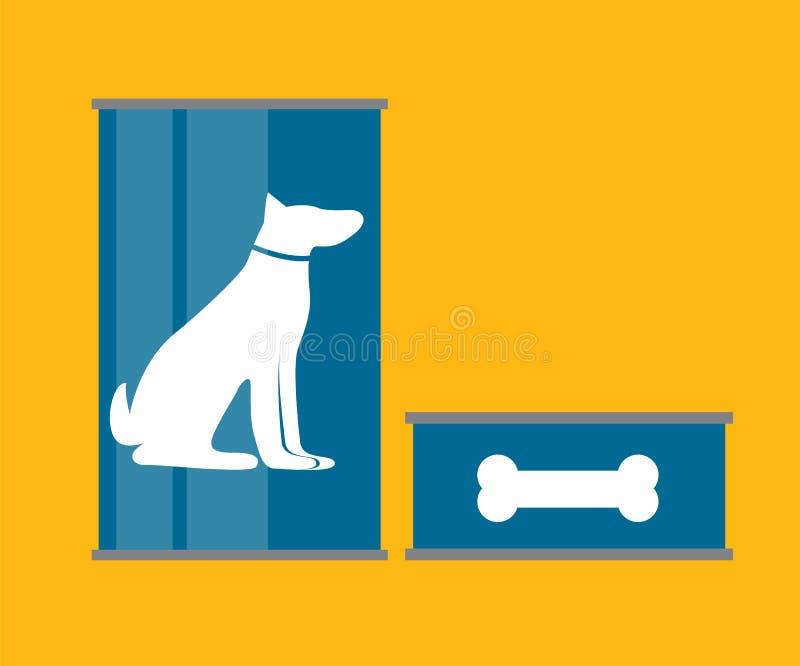 L'aliment pour animaux familiers peut calibre dans l'icône plate moderne de style Matériel pour le De illustration libre de droits