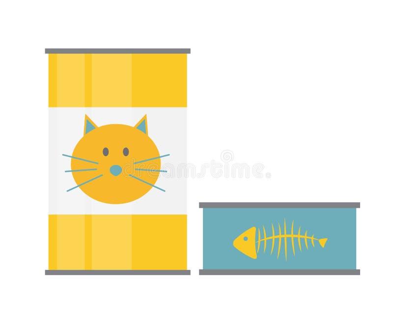 L'aliment pour animaux familiers peut calibre dans l'icône plate moderne de style Matériel pour le De illustration stock