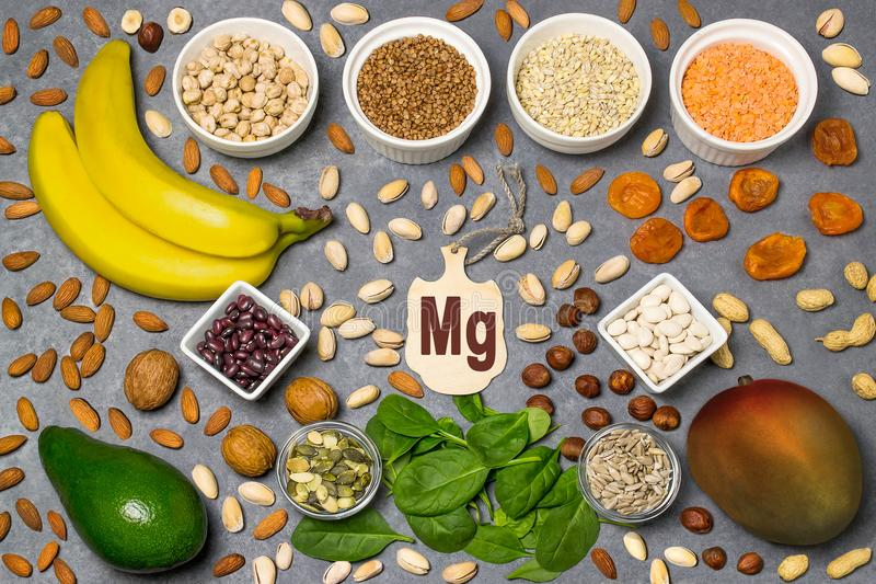 L'alimento è fonte di mg del magnesio fotografia stock libera da diritti