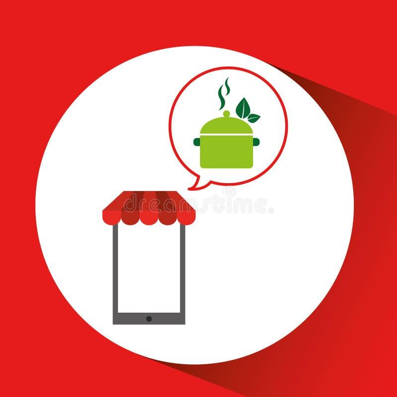 L'alimento biologico di acquisto del telefono cellulare mangia sano illustrazione di stock