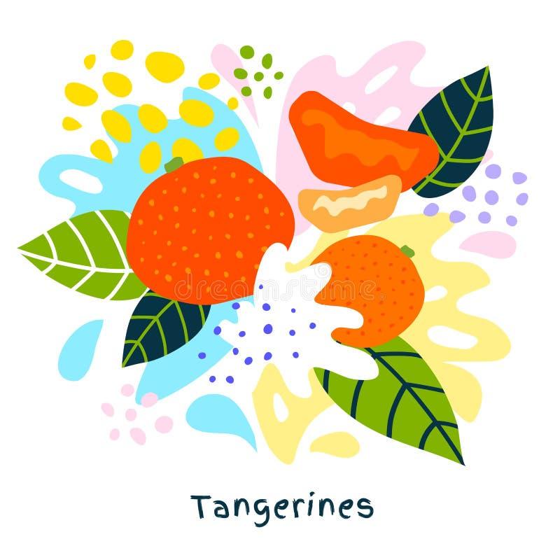 L'alimento biologico esotico tropicale della spruzzata del succo degli agrumi del mandarino fresco succoso schizza i mandarini su illustrazione di stock