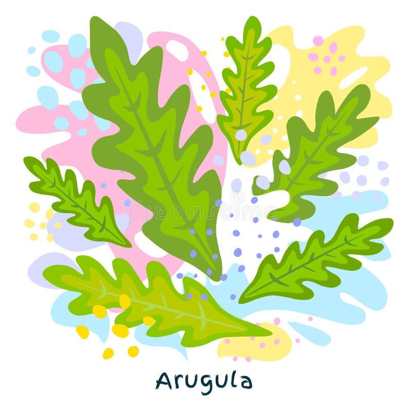 L'alimento biologico verde fresco della spruzzata del succo di verdura della rucola su coloful astratto schizza il vettore del fo illustrazione vettoriale