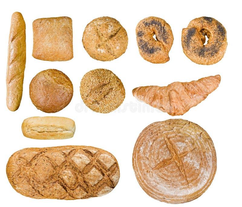 L'alimento del pane ha impostato sopra bianco fotografia stock libera da diritti