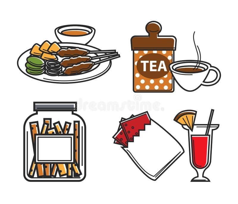 L'alimento di Singapore e bere le attrazioni nazionali di cucina ha isolato gli oggetti illustrazione di stock