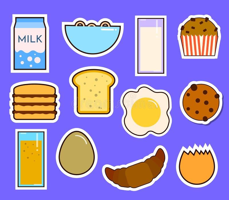 L'alimento fresco della prima colazione e le icone piane delle bevande messe con la tazza di tè del succo di frutta della ciambel illustrazione di stock