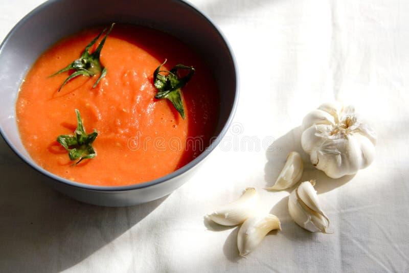 L'alimento ha impostato con la minestra del pomodoro immagine stock