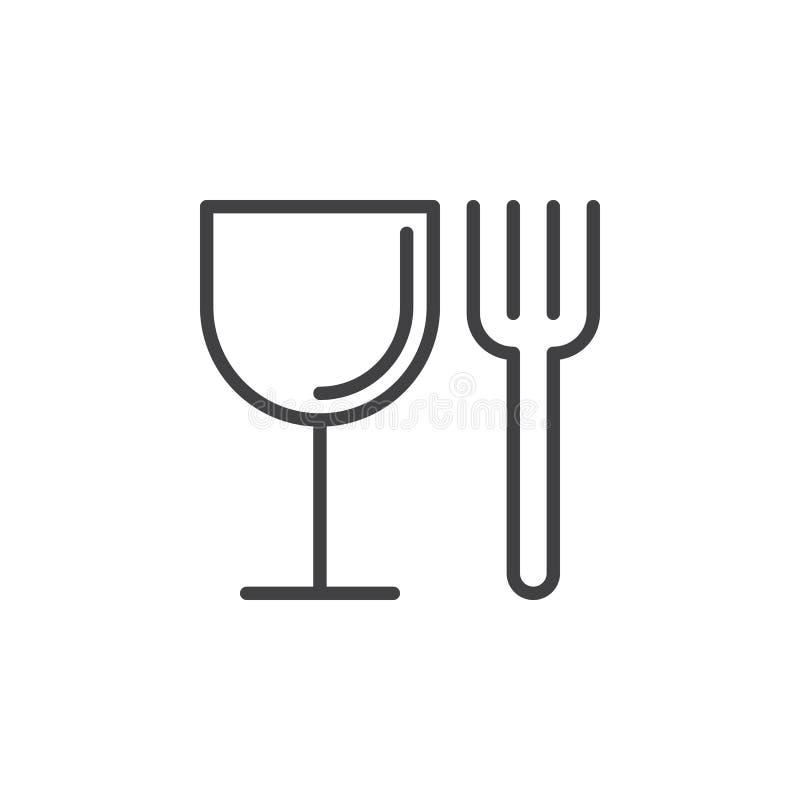 L'alimento, la forcella ed il vetro allineano l'icona, segno di vettore del profilo, pittogramma lineare di stile isolato su bian illustrazione di stock