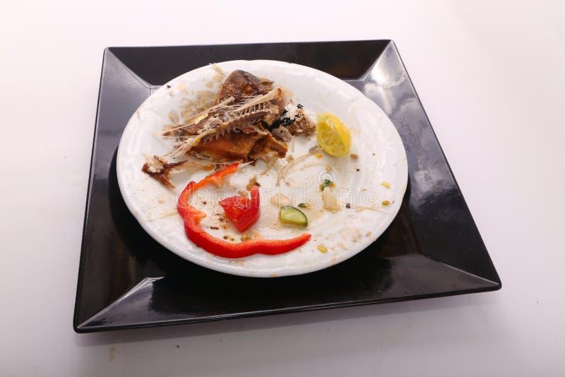 L'alimento rimanente sul posto dopo mangia fotografie stock