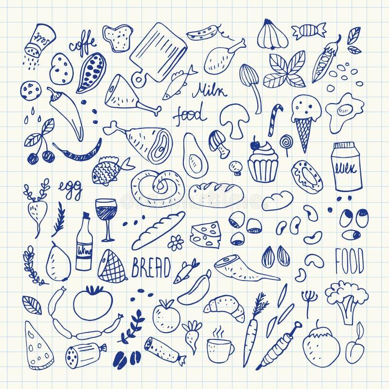 L'alimento scarabocchia la raccolta Icone disegnate a mano di vettore Illustrazione di disegno a mano libera royalty illustrazione gratis