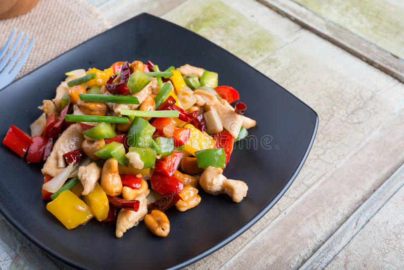 L'alimento tailandese, stir ha infornato il pollo con gli anacardi immagine stock libera da diritti