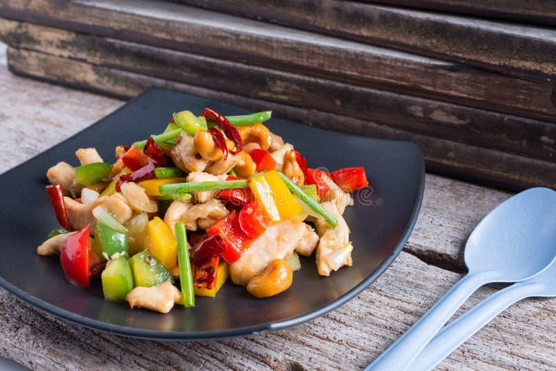L'alimento tailandese, stir ha infornato il pollo con gli anacardi fotografie stock libere da diritti
