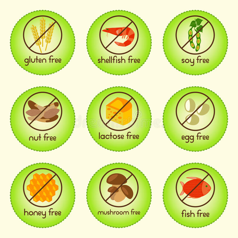 L'alimento variopinto dell'allergene ha messo con glutine libero, crostacei liberi, la soia libera, dado libero, senza lattosio,  illustrazione di stock