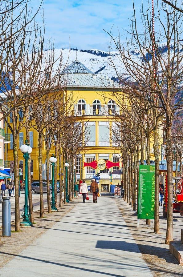 L'allée d'hiver du parc d'esplanade, mauvais Ischl, Autriche images stock