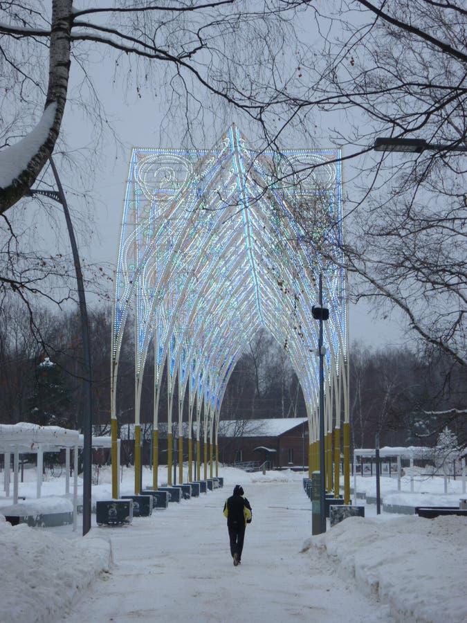 L'allée en cristal a appelé le maire dans le parc Kuzminki photographie stock libre de droits