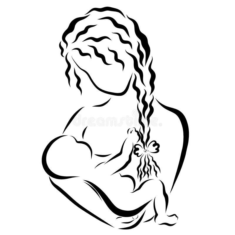 L'allattamento al seno, una giovane madre alimenta il suoi bambino, amore e cura illustrazione di stock
