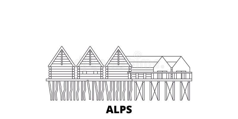 L'Allemagne, Alpes, les logements de pile préhistoriques rayent l'ensemble d'horizon de voyage L'Allemagne, Alpes, contour préhis illustration stock