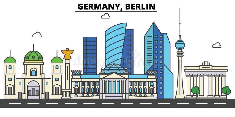 L'Allemagne, Berlin Architecture d'horizon de ville editable illustration de vecteur
