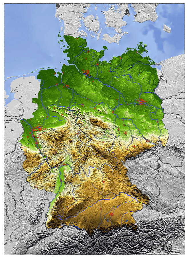 l'Allemagne, carte d'allégement illustration libre de droits