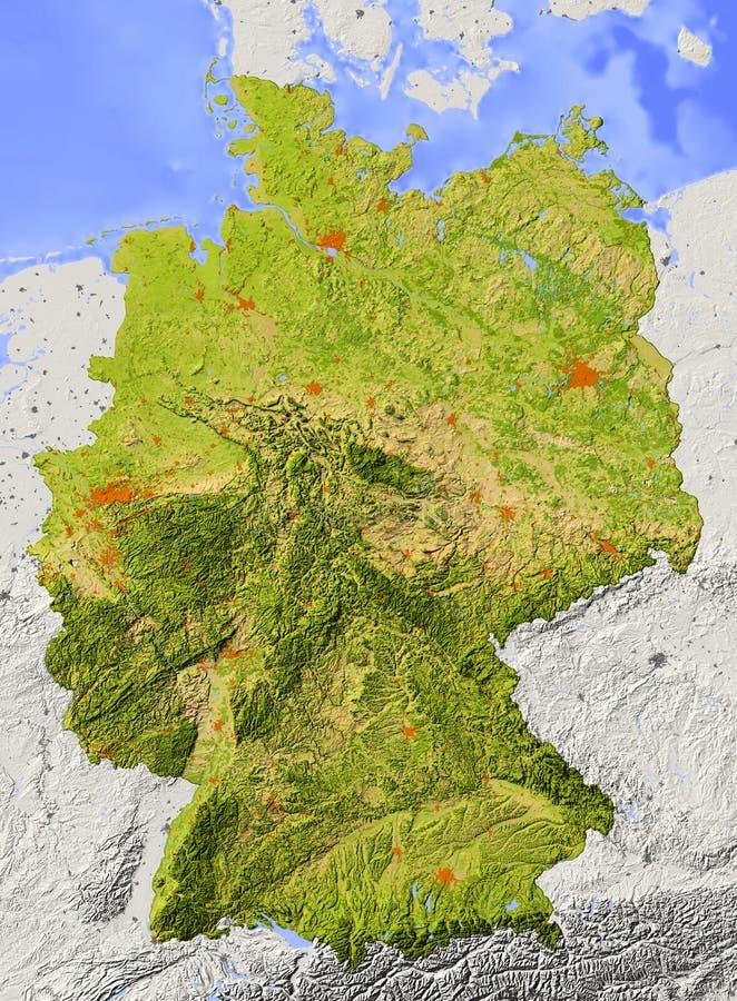 l'Allemagne, carte d'allégement illustration de vecteur