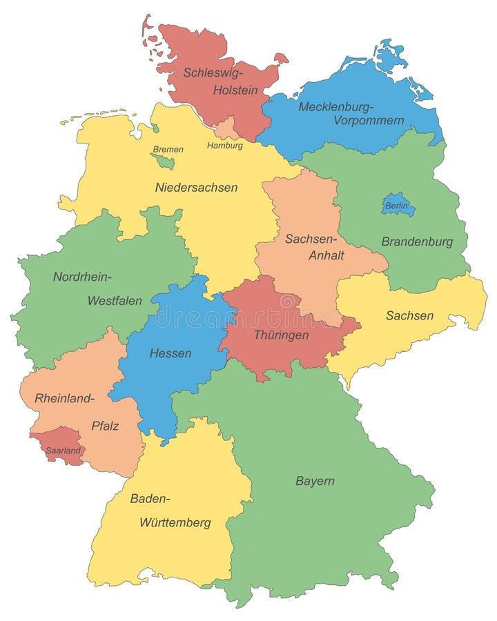 L'Allemagne - carte de l'Allemagne - haut détaillé illustration libre de droits