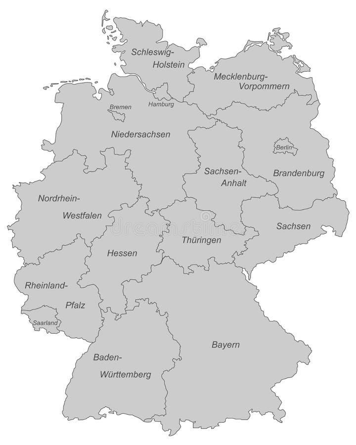 L'Allemagne - carte de l'Allemagne - haut détaillé illustration stock