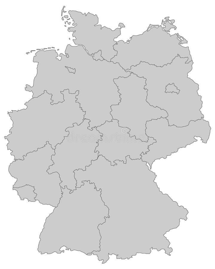L'Allemagne - carte de l'Allemagne - haut détaillé illustration de vecteur