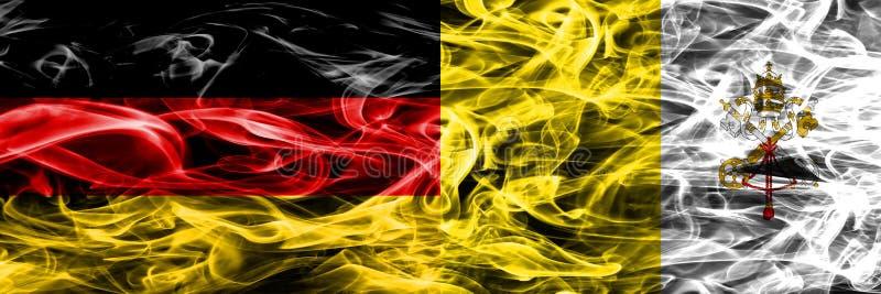 L'Allemagne contre des drapeaux de fumée de Ville du Vatican placés côte à côte allemand illustration libre de droits