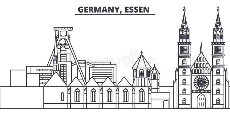 L'Allemagne, diminuent la ligne illustration de vecteur d'horizon L'Allemagne, diminuent le paysage urbain linéaire avec les poin illustration stock