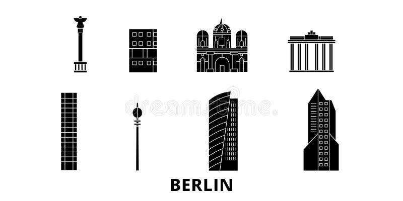 L'Allemagne, ensemble plat d'horizon de voyage de Berlin City L'Allemagne, illustration de vecteur de ville de noir de Berlin Cit illustration de vecteur