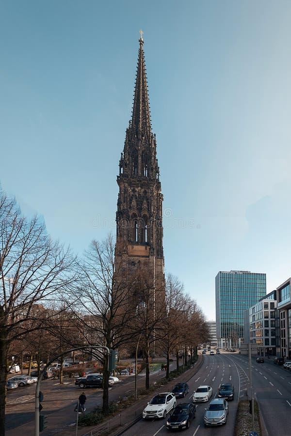 l'allemagne hambourg Église de Saint-Nicolas à Hambourg 13 février 2018 photo stock