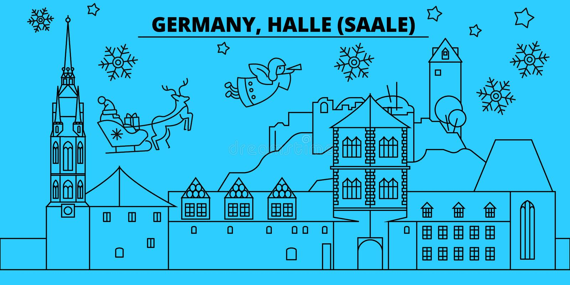 L'Allemagne, horizon de vacances d'hiver de Halle Saale Le Joyeux Noël, bonne année a décoré la bannière avec Santa Claus l'allem illustration stock