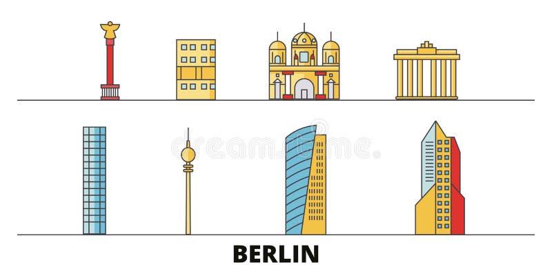 L'Allemagne, illustration plate de vecteur de points de repère de Berlin City L'Allemagne, ligne ville de Berlin City avec des vu illustration de vecteur