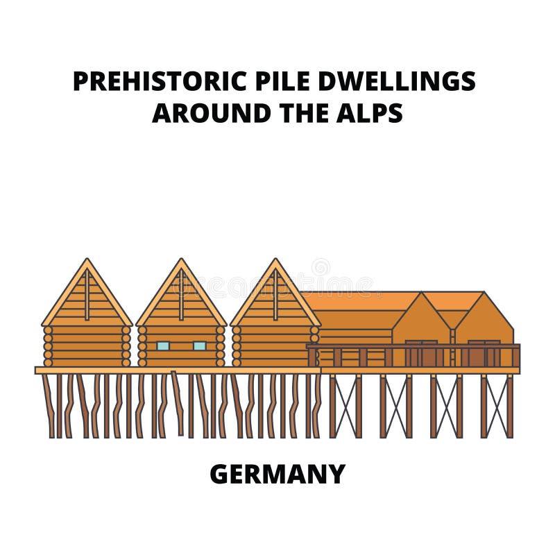 L'Allemagne, les logements de pile préhistoriques autour des Alpes rayent le concept d'icône L'Allemagne, logements de pile préhi illustration stock