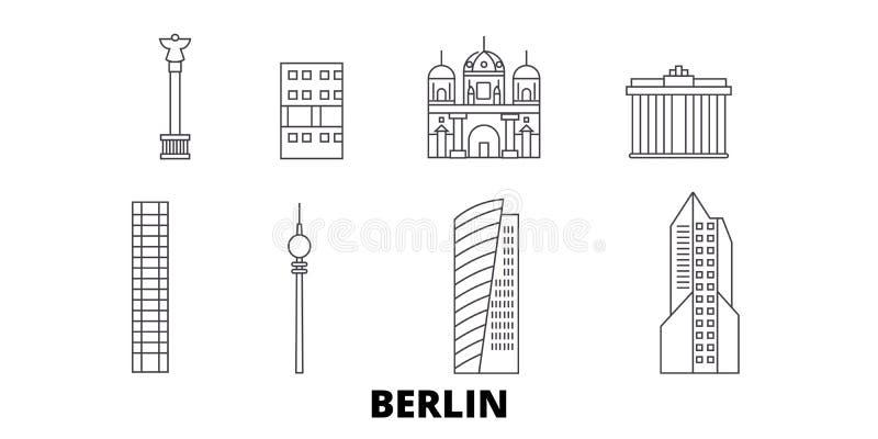 L'Allemagne, ligne ensemble de Berlin City d'horizon de voyage L'Allemagne, illustration de vecteur de ville d'ensemble de Berlin illustration stock