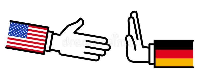 L'Allemagne refusant de serrer la main aux Etats-Unis, conflit, négociations, relations d'affaires, concept, ligne icônes illustration stock