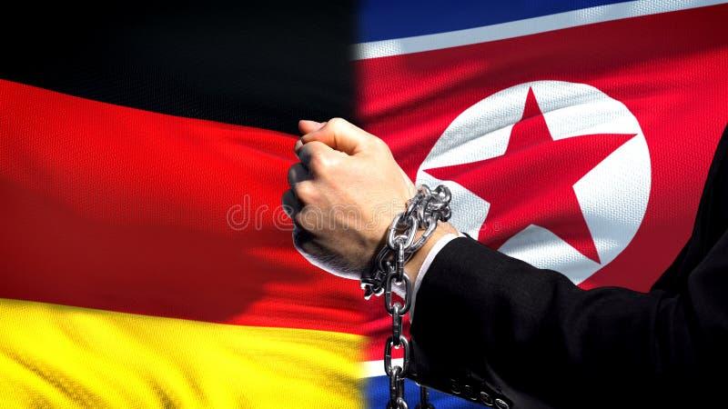 L'Allemagne sanctionne la Corée du Nord, le conflit de bras, politique ou économique enchaîné image stock