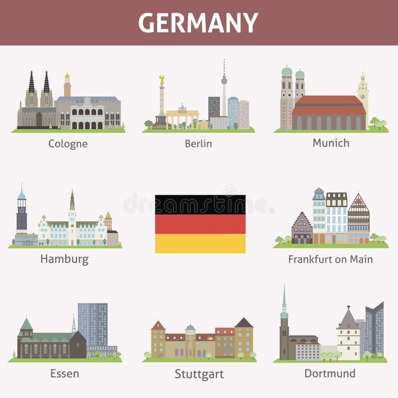 L'Allemagne. Symboles des villes illustration libre de droits