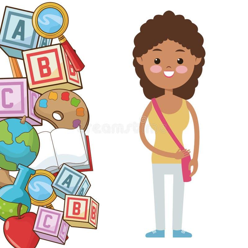 L'allievo della ragazza del bambino di afro fornisce la scuola royalty illustrazione gratis