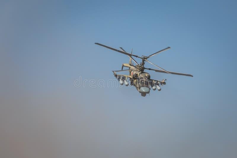 L'alligator de l'hélicoptère de combat Ka-52, a appelé le réservoir volant Vue en avant, en vol photo libre de droits