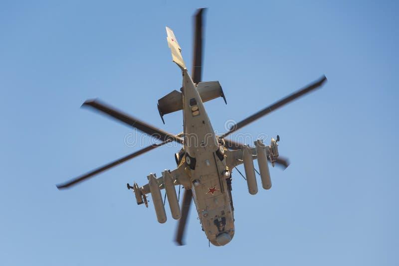 L'alligator de l'hélicoptère de combat Ka-52, a appelé le réservoir volant Vue inférieure, en vol image stock