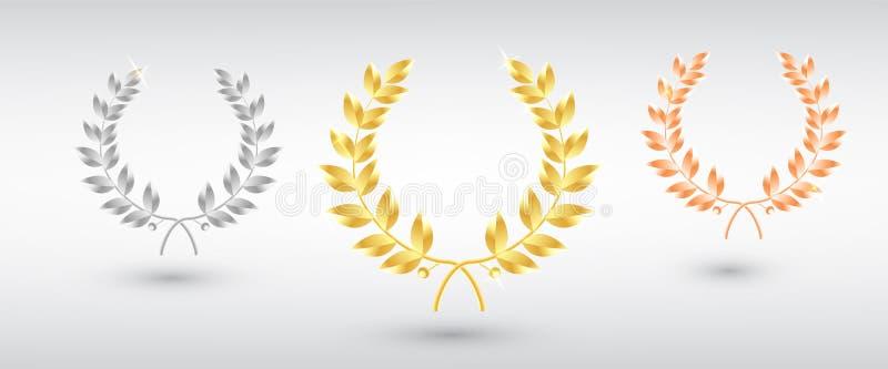 L'alloro del premio ha messo - in primo luogo, secondo e terzo posto Modello del vincitore Simbolo della vittoria e del risultato royalty illustrazione gratis