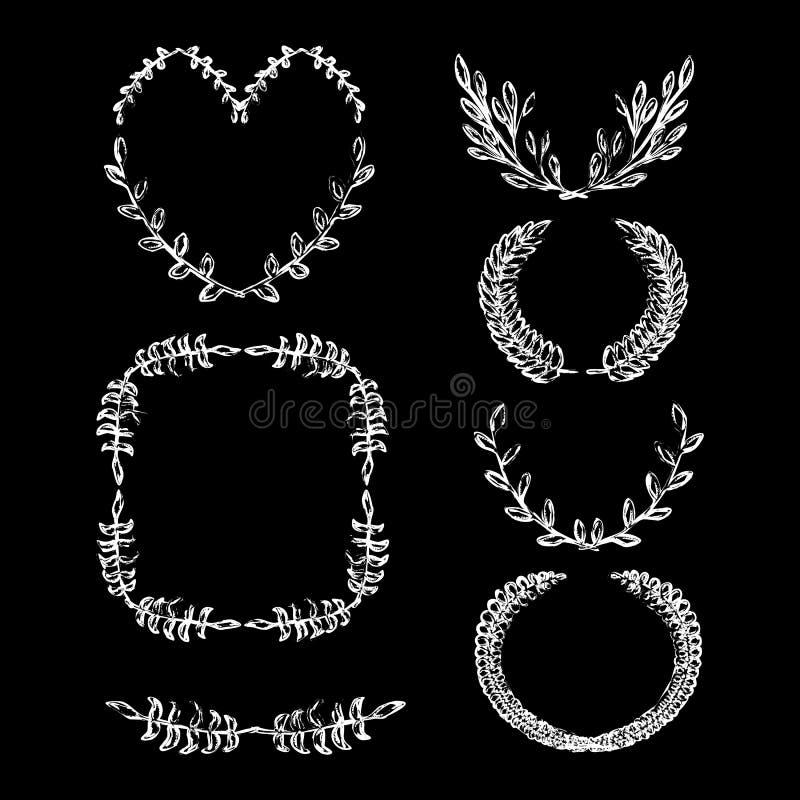 L'alloro disegnato gesso disegnato a mano decorativo di vettore della corona dell'alloro delle strutture dell'annata lascia la st royalty illustrazione gratis